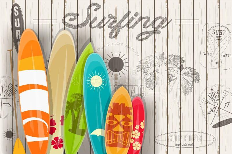 Surfa den Retro affischen royaltyfri illustrationer