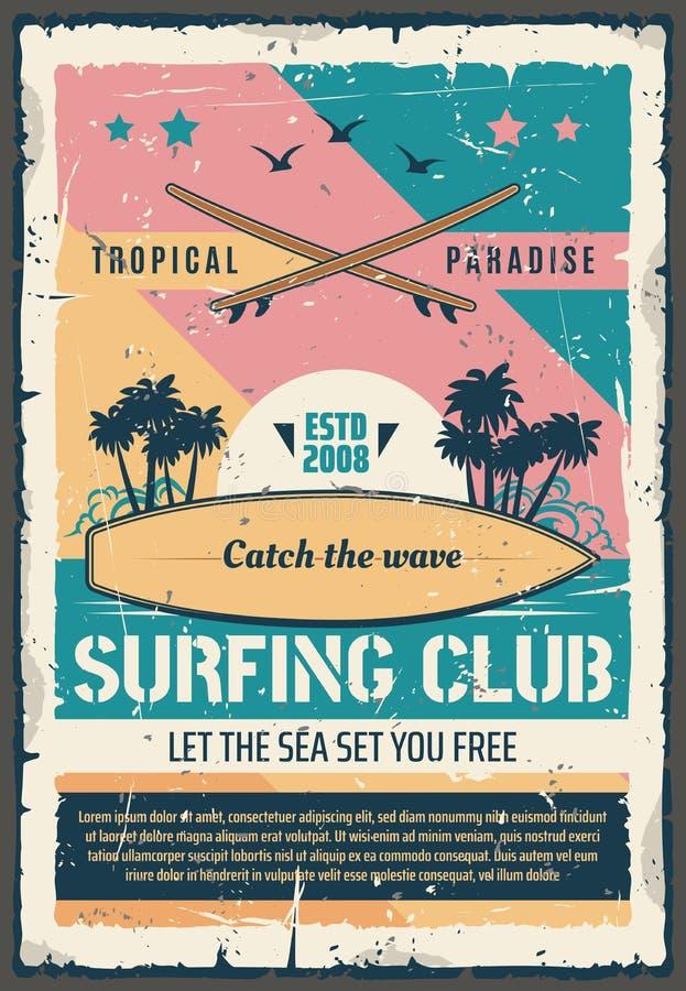 Surfa den retro affischen för klubbaparadisaffärsföretag stock illustrationer