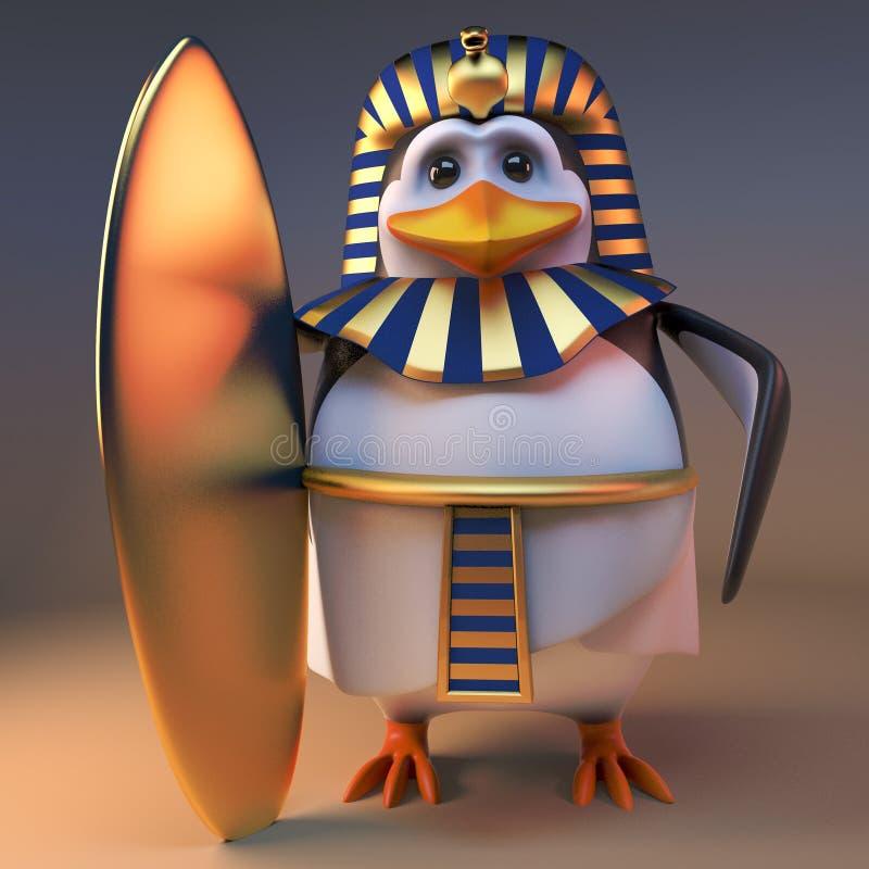Surfa den tokiga pingvinfarao Tutankhamun har köpt en guld- surfingbräda, illustrationen 3d royaltyfri illustrationer