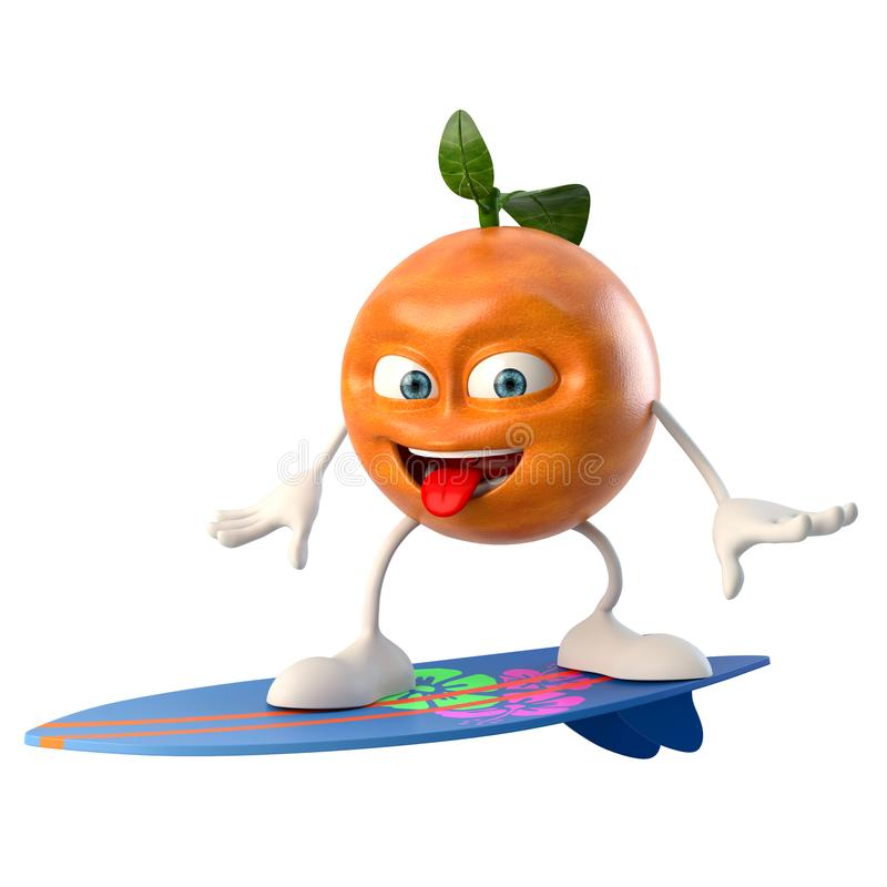 Surfa det roliga teckenet för frukt 3d royaltyfri illustrationer