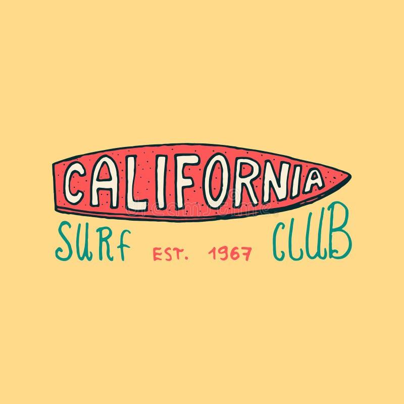 Surfa emblemet och vågen, palmträdet och havet retro tappning för bakgrund vändkretsar och Kalifornien, surfingbräda, sommar på stock illustrationer
