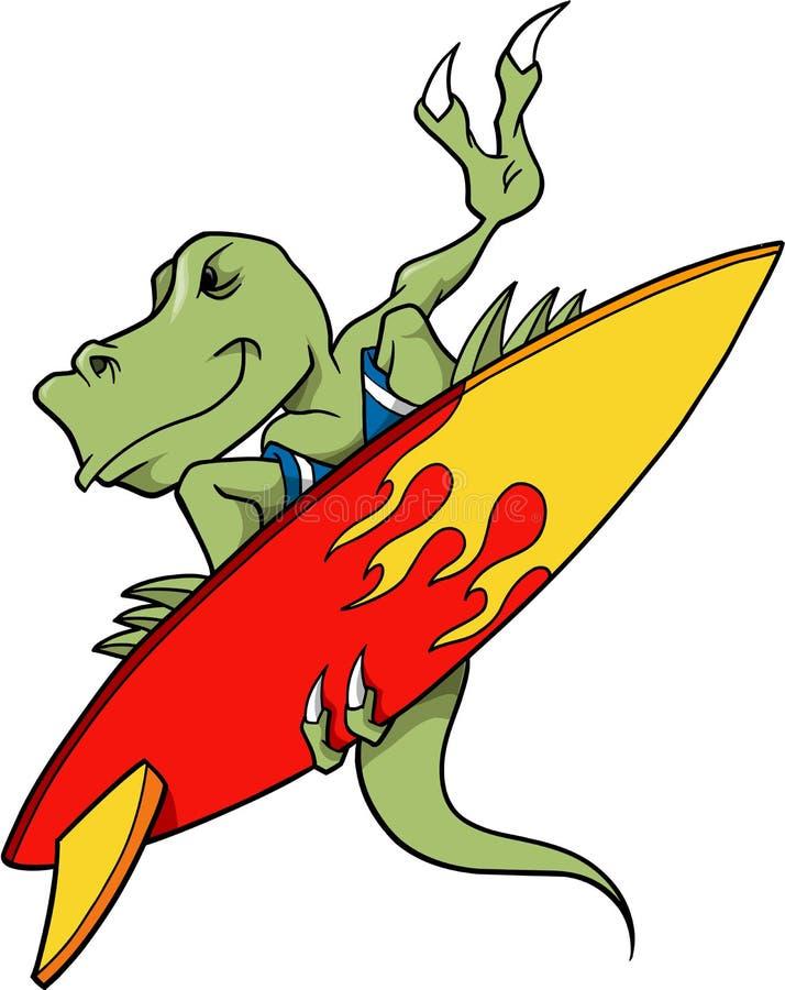 surfa för dinosaur royaltyfri illustrationer
