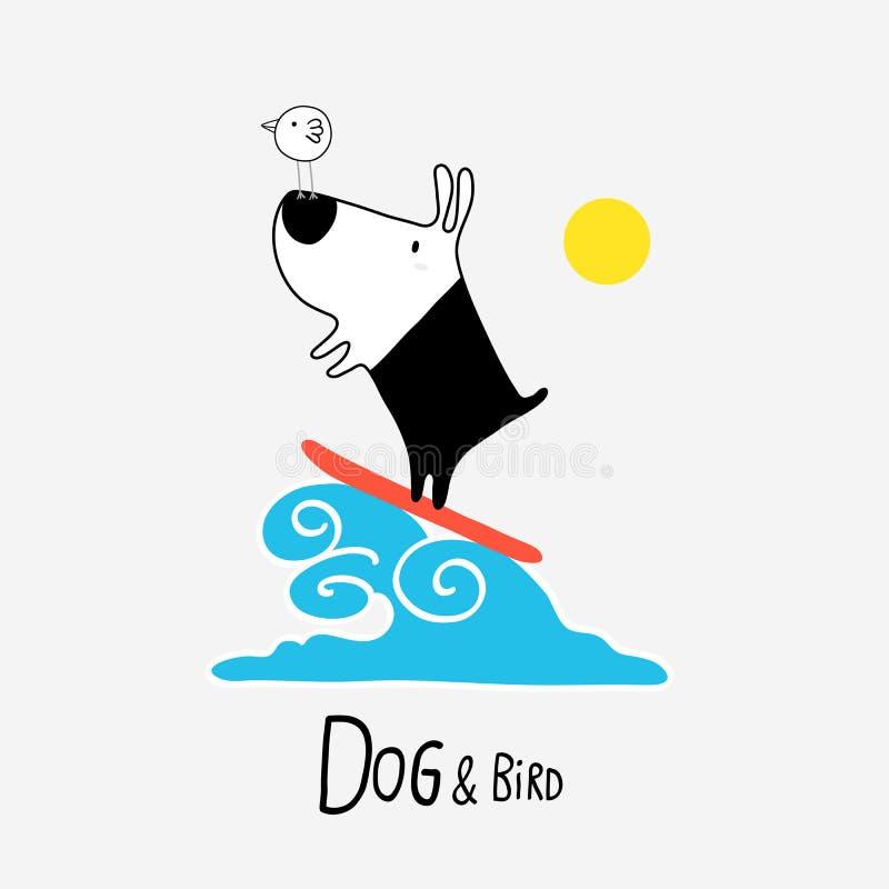 Surfa för hund & för fågel vektor illustrationer
