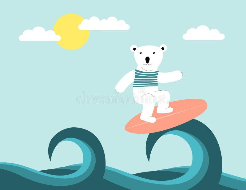 Surfa för isbjörn stock illustrationer