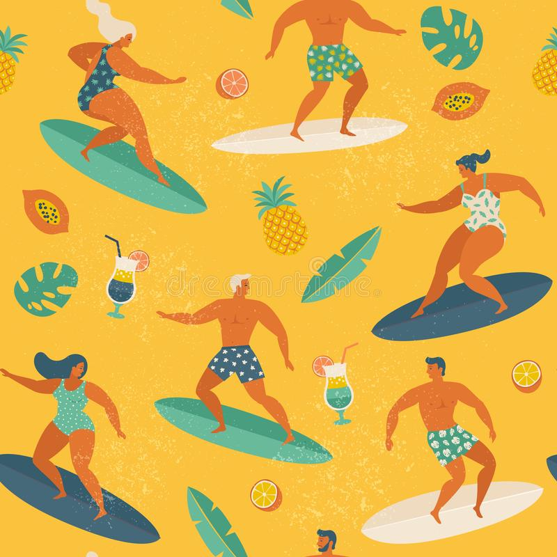 Surfa flickor och pojkar på bränningbrädena som fångar vågor i havet Sömlös modell för sommarstrand i vektor stock illustrationer
