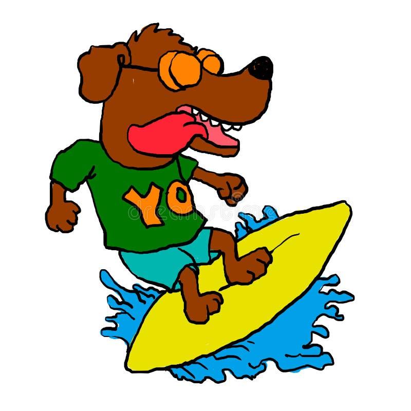 Surfa hunden, rolig hund Galet förfölja stock illustrationer