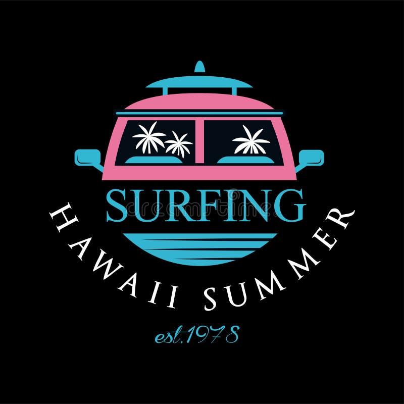 Surfa logoen 1978 för Hawaii sommarestd, kan designbeståndsdelen användas för bränningklubba, shoppar, skjortatrycket, emblemet,  royaltyfri illustrationer