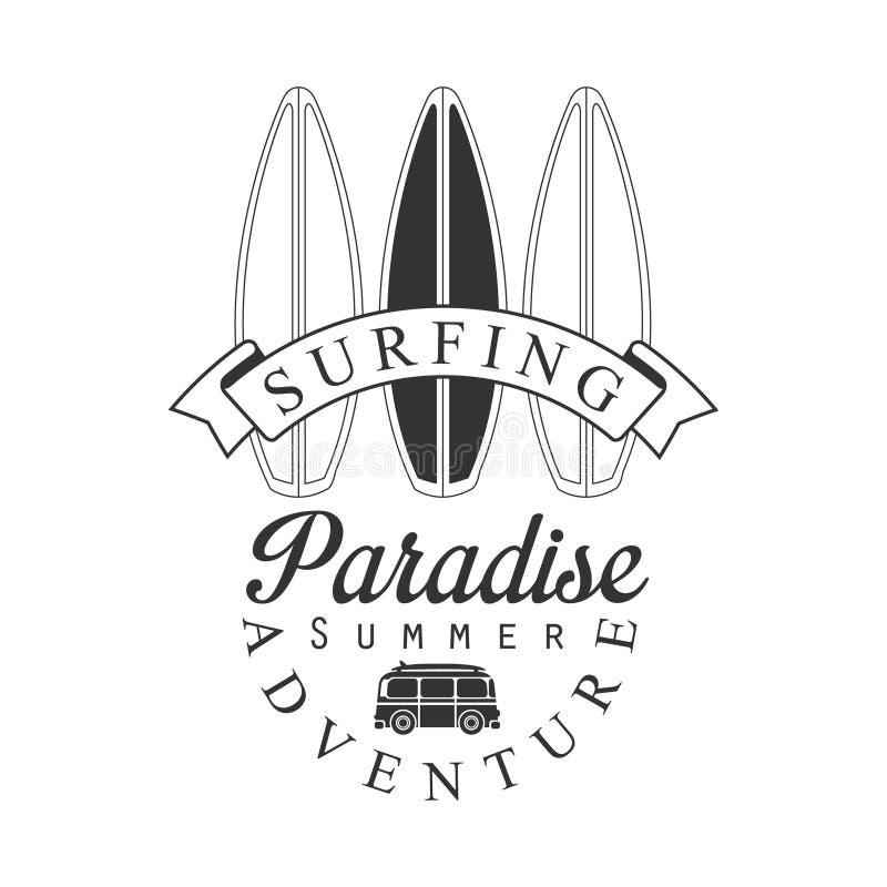 Surfa paradissommar äventyra logomallen, svartvit vektorillustration stock illustrationer