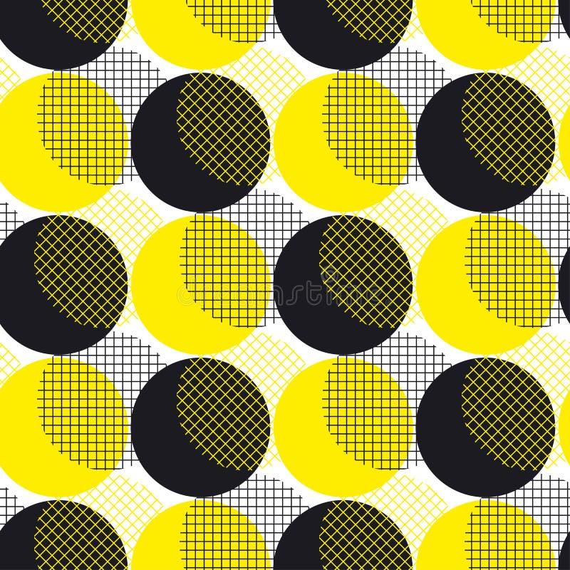 Surfa senza cuciture dell'illustrazione di vettore del modello della geometria rotonda gialla illustrazione di stock