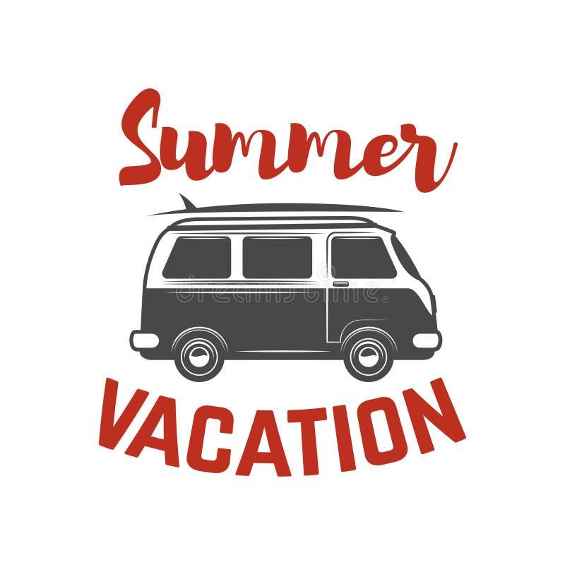 Surfa sommar för turbegreppsvektorn som surfar det retro emblemet Planlägg beståndsdelen för affischen, t-skjortan, emblem royaltyfri illustrationer