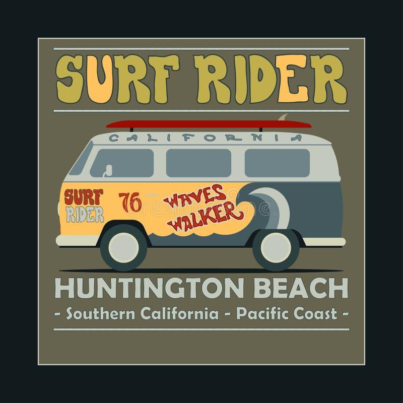 Surfa t-skjorta grafisk design Retro bränning för tappning royaltyfri illustrationer