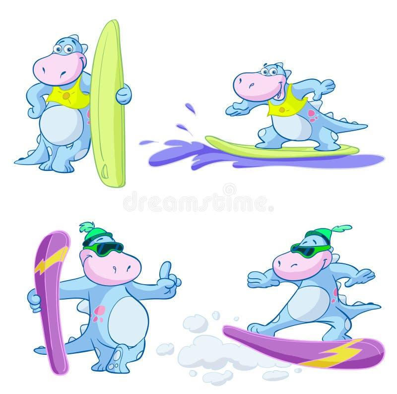 Surfa tecknad filmdinosaurien royaltyfri illustrationer