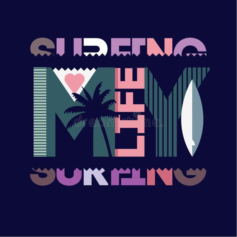 Surfa typografi royaltyfri illustrationer