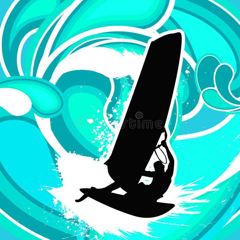 surfa vektorwind stock illustrationer