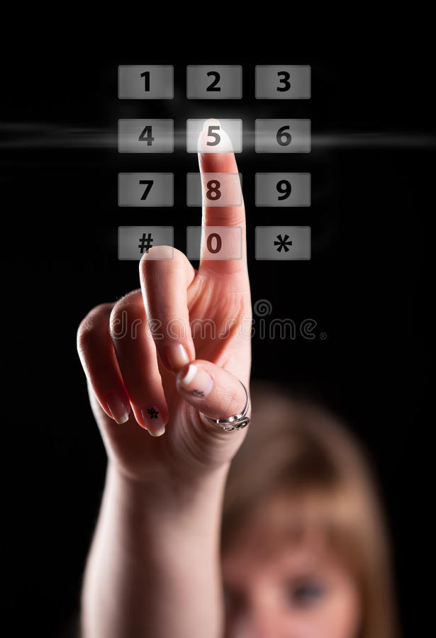 Surface adjacente d'écran tactile de pressurage à la main photo libre de droits