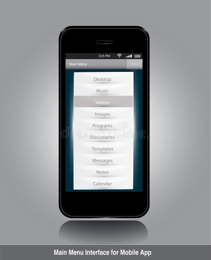 Surface adjacente de menu principal pour le $$etAPP mobile illustration stock