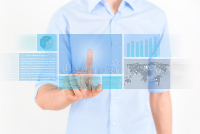 Surface adjacente futuriste d'écran tactile photos libres de droits