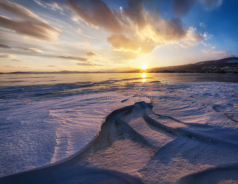 Surface of Baikal Lake in winter royalty free stock photos