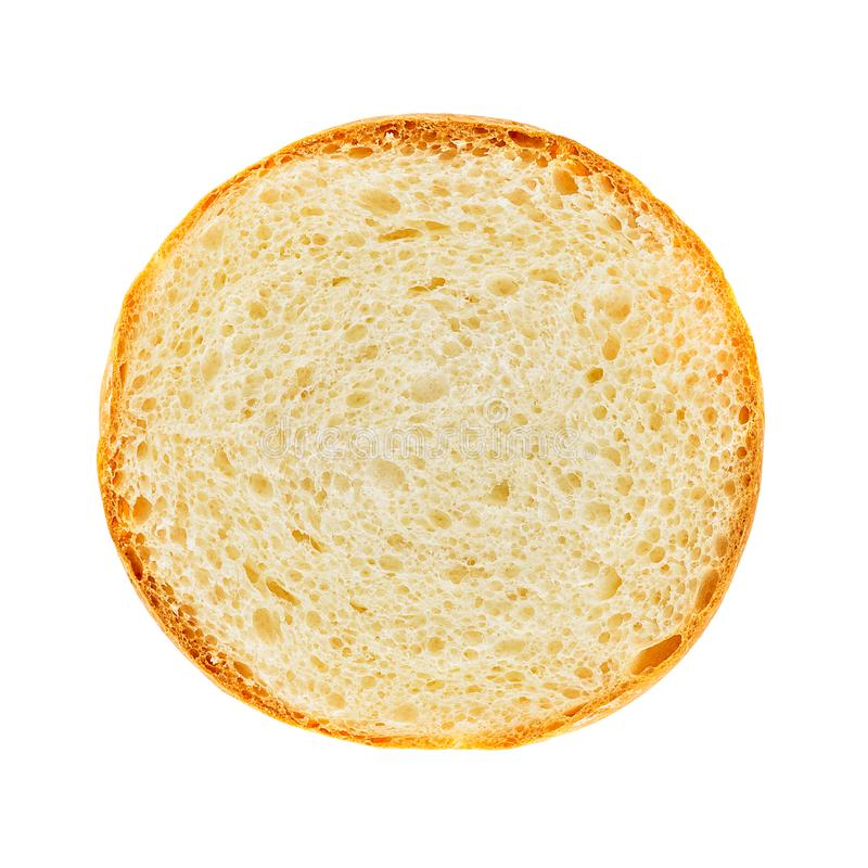 Burger bread section. Surface of burger bread section isolated on white background with clipping path stock images