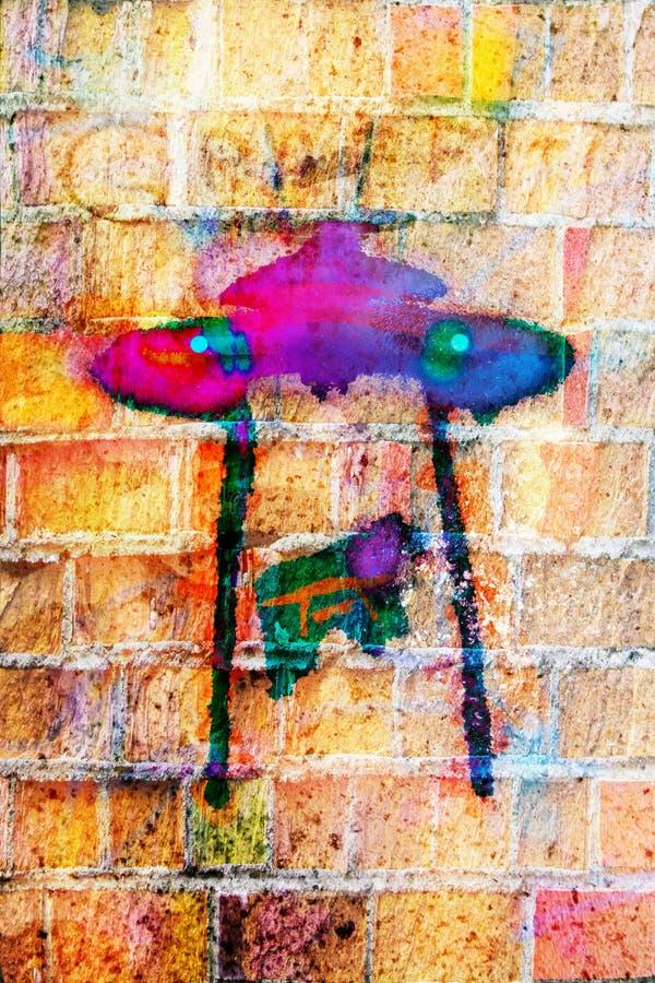 Surface colorée de mur avec le graffiti d'inscription photo stock