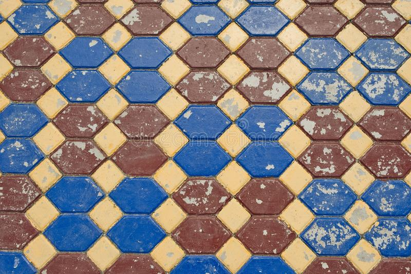 Surface colorful of the old pavement covered with tiles background texture. royalty free stock photos