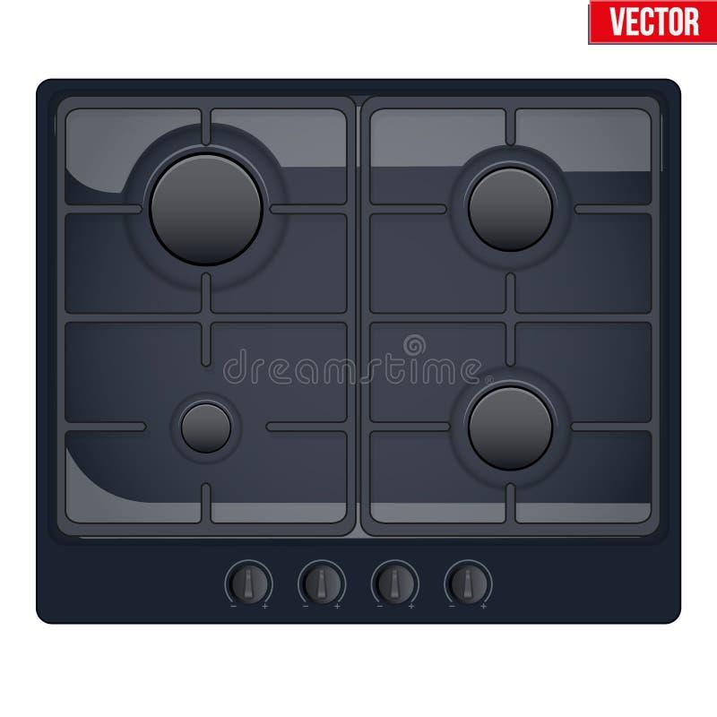 Surface de cuisinière à gaz illustration stock