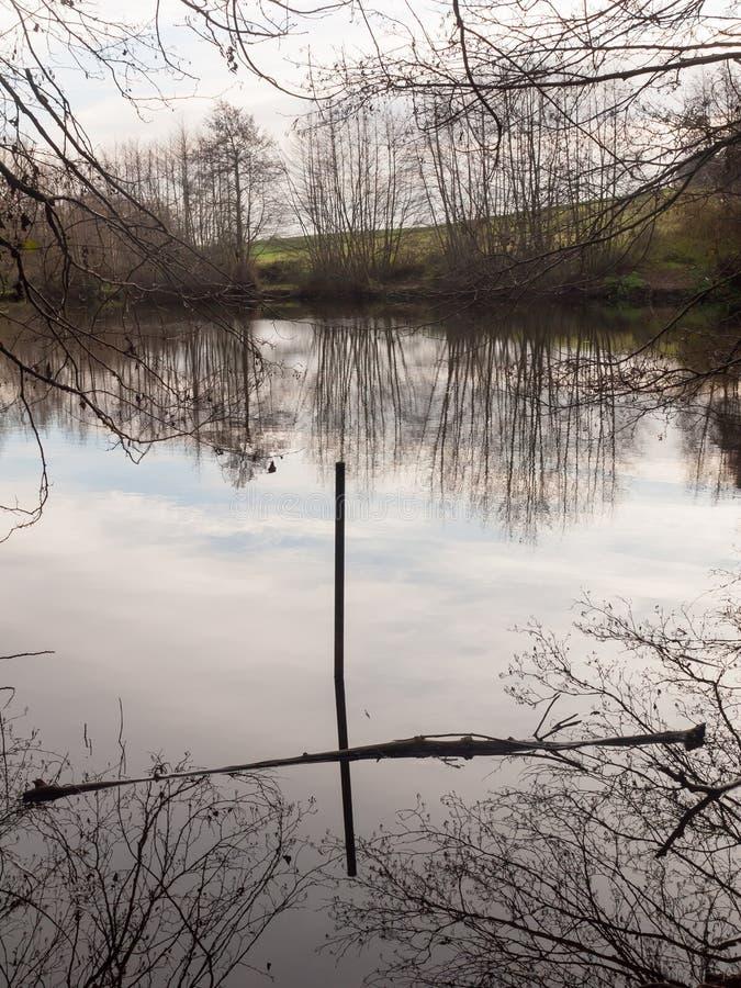 surface de l'eau de lac de forêt de mistley de collines d'ajoncs de l'étang du garde-chasse photos libres de droits