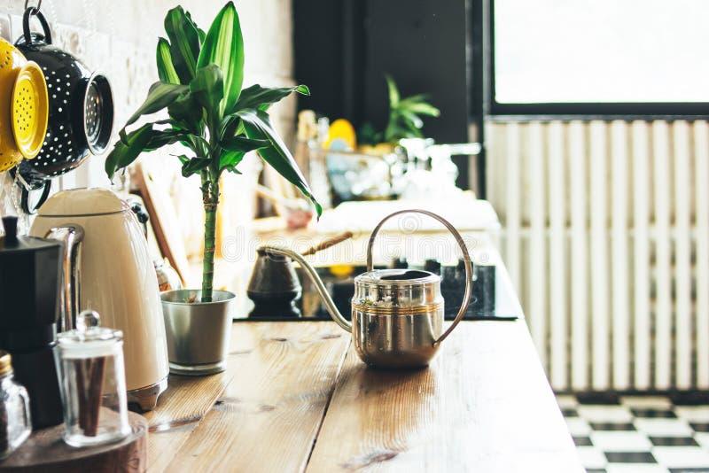 Surface de travail de cuisine, éléments intérieurs, conception rustique scandinave d'eco avec la plante verte photos stock