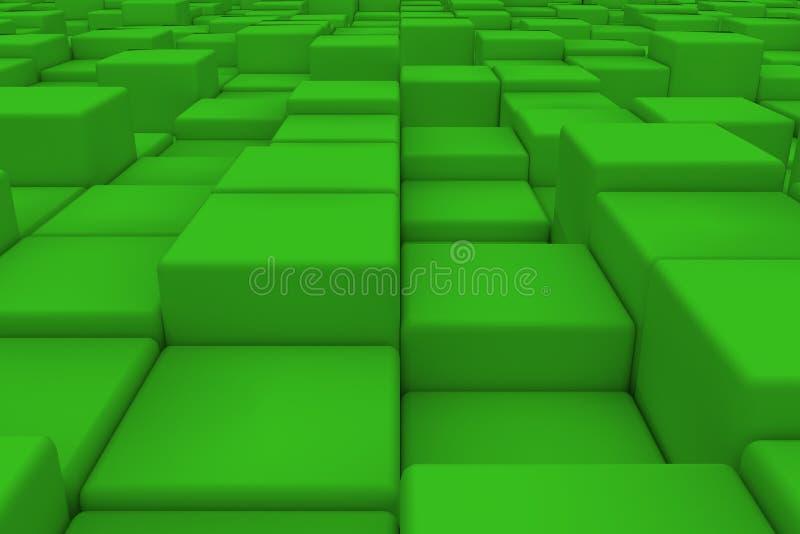 Surface diagonale faite de cubes verts illustration libre de droits