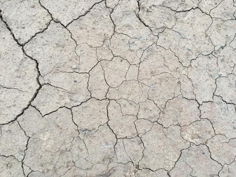 The surface of dry land with many cracks without a drop of water. Top view of dry and hot natured in the summer royalty free stock photos