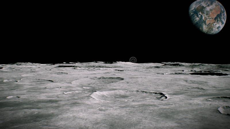 Surface du paysage de lune Vol au-dessus de la surface de lune Fermez-vous vers le haut de la vue rendu 3d illustration libre de droits