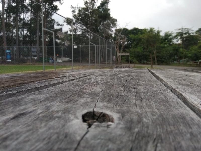 Surface en bois sur le parc images stock
