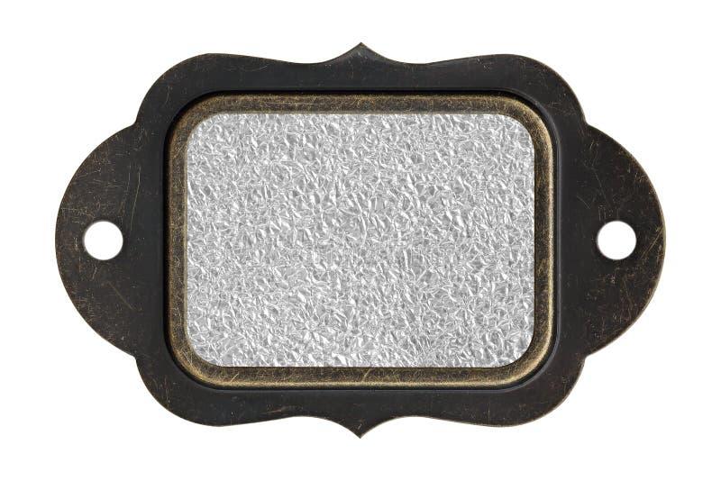 Surface en bronze d'aluminium avec le plat rugueux de fond avec le cadre en acier images libres de droits