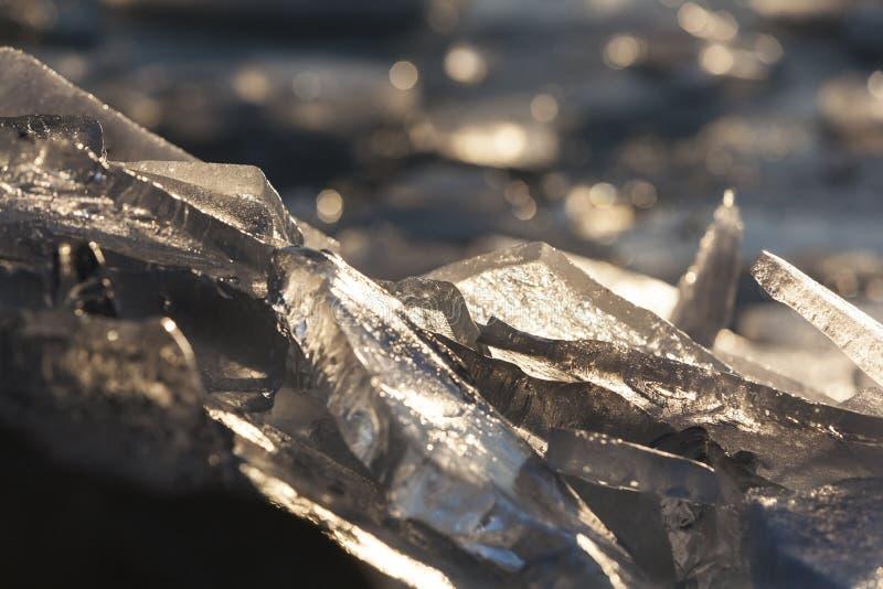 Surface gelée du plus grand lac en Hongrie, Balaton images stock