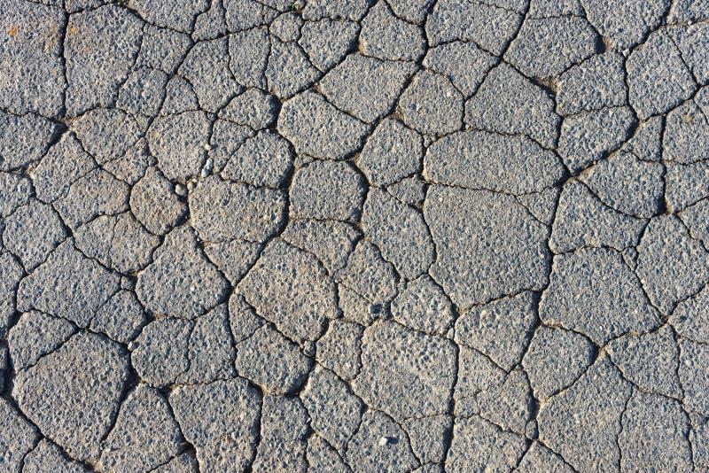 Surface of grey cracked asphalt royalty free stock photo