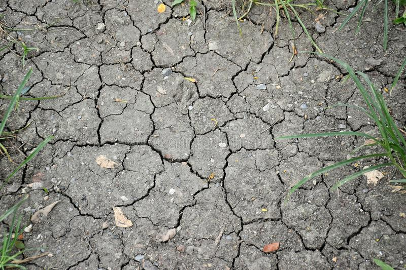 Surface of a grunge dry cracking parched earth for textural background. Black surface of grungy dry cracking parched earth for textural background royalty free stock photo