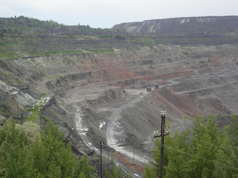 Surface ironstone mining (open-pit quarry) royalty free stock photography