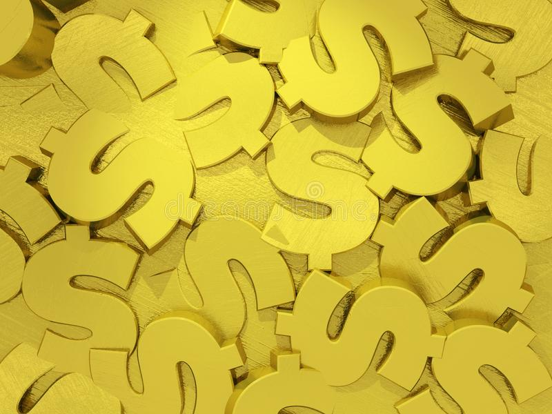 Surface made of golden dollar signs. Abstract background stock illustration