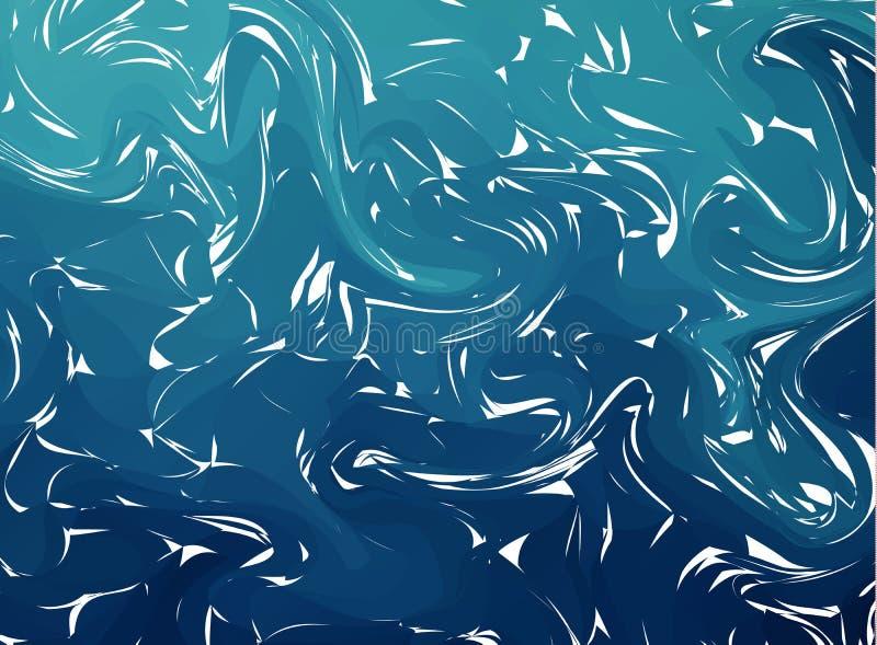 Surface marbrée par turquoise abstraite Belle texture faite main Modèle peint unique Contexte d'aquarelle illustration stock