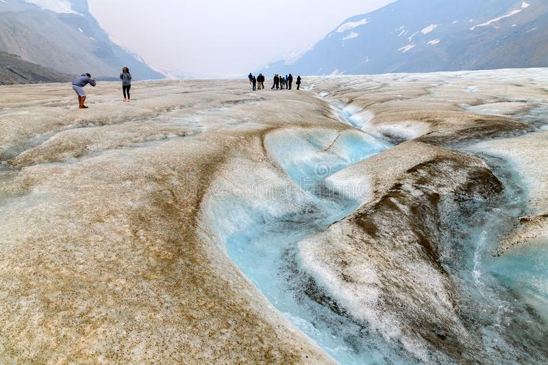 Scenic view of Athabasca Glacier at Columbia Icefield, Japser Na stock photography