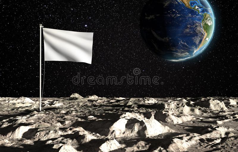 The surface of the moon with a blank state flag and the planet Earth on a background of the starry sky. Creative conceptual vector illustration