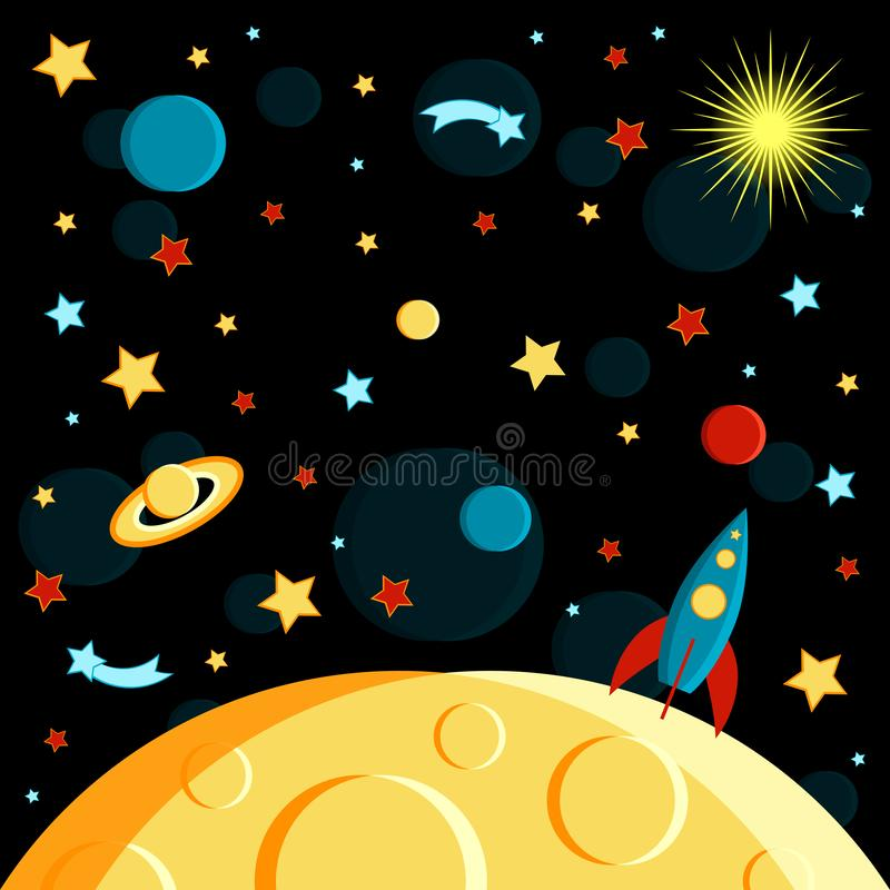 Surface of the moon, rocket and space view. Moon, Sun, Saturn, Earth, other planets, rocket Stars comets space. Cartoon style vector illustration