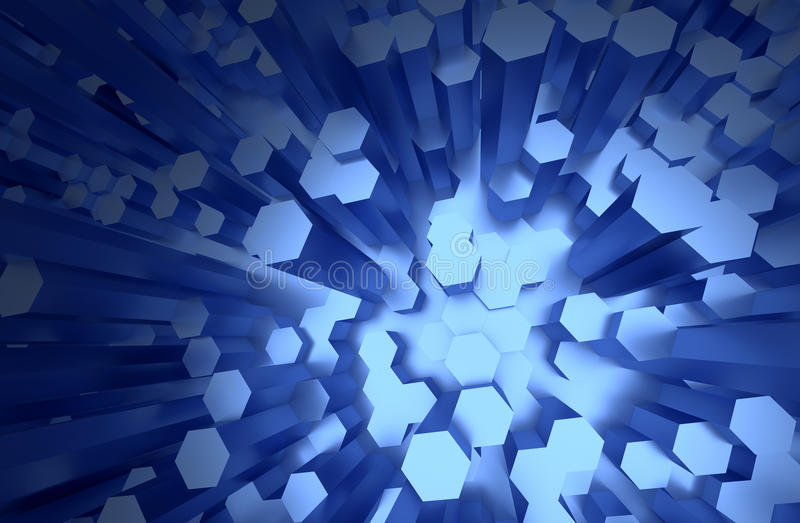 Surface with Randomly Extruded Hexagons, Bright Blue Faces royalty free illustration