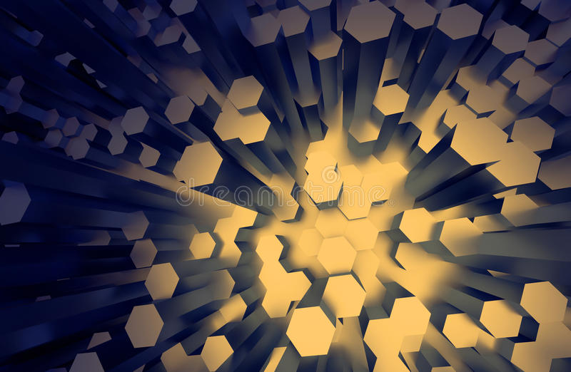 Surface with Randomly Extruded Hexagons, Dark Yellow Faces royalty free illustration