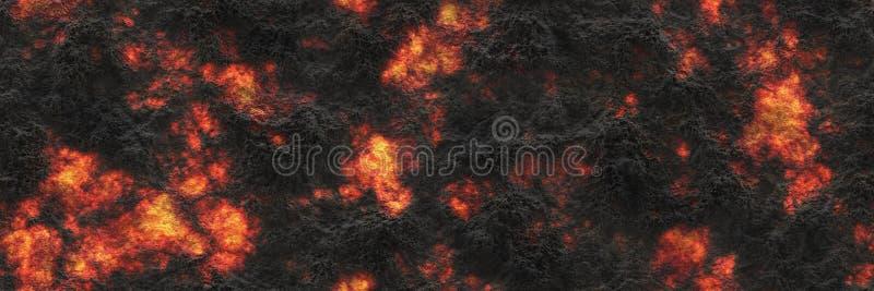 Surface rougeoyante brûlée de charbon de bois des charbons Modèle abstrait de nature illustration stock
