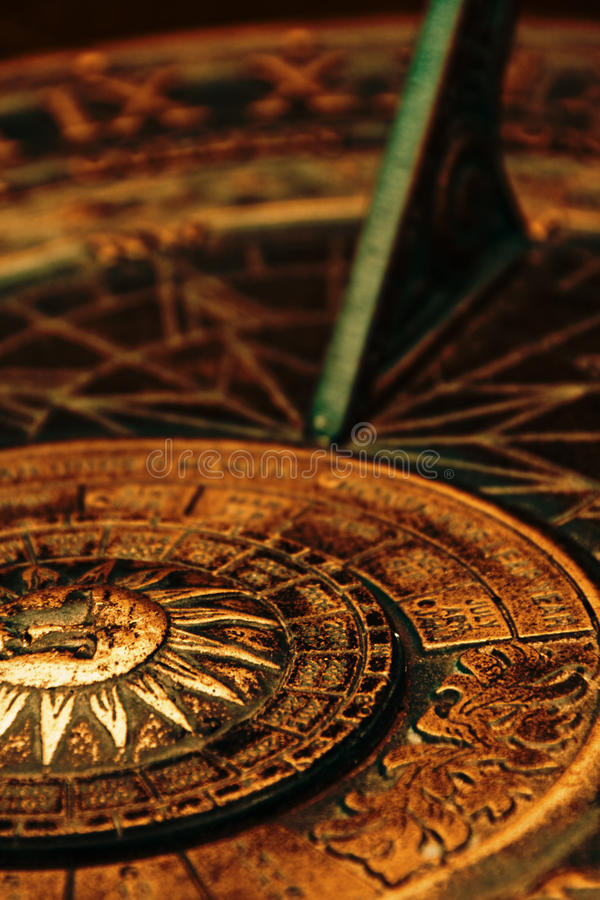 Surface of sundial. Details of surface of old sundial stock photo