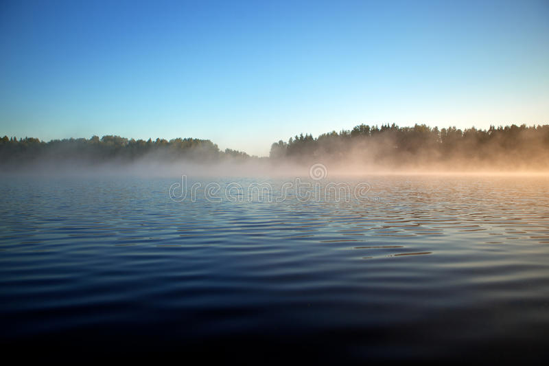 Surface texture of a forest lake. Background, surface water. Lake covered in mist. Surface texture of summer forest lake. Background, surface water. Lake covered royalty free stock image