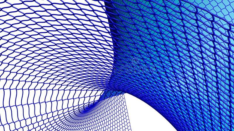 Surface tordue wireframed par bleu illustration de vecteur