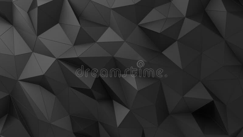 Surface triangulaire fripée par résumé noir illustration de vecteur