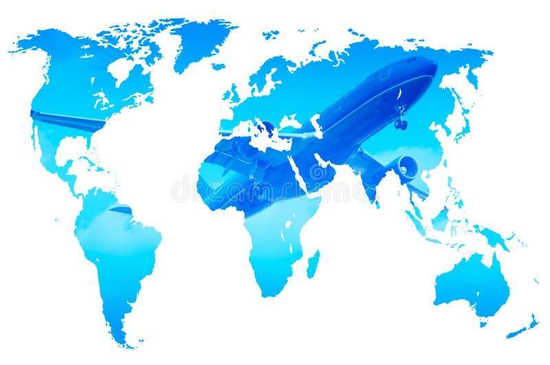 Surfacez au-dessus de la carte bleue du monde de gradient, double exposition, d'isolement illustration stock